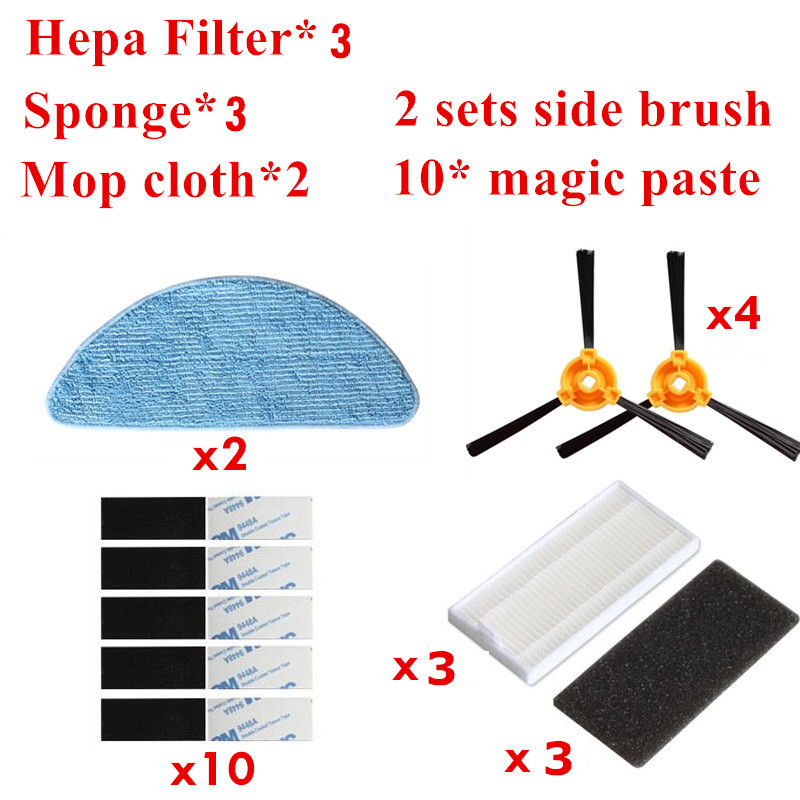 Vacuum Cleaner Accessories Pack For CONGA EXCELLENCE Robotic Vacuum Cleaner Parts Side Brush *4+Mop cloth *2+HEPA Filter *3 2pcs robotic vacuum cleaner robotic parts pack hepa filter for xiaomi mi robot filters cleaner accessories