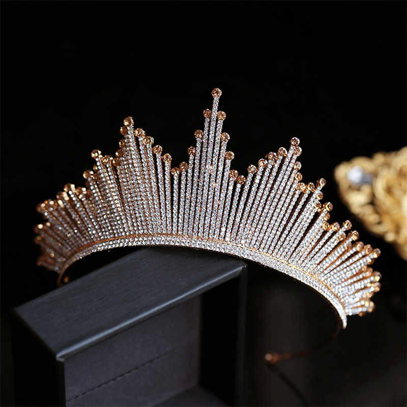 HIMSTORY lujo de moda Full tiara de diamantes de cristal corona grande boda novia reina corona tocado Champagne gold Hair Acces