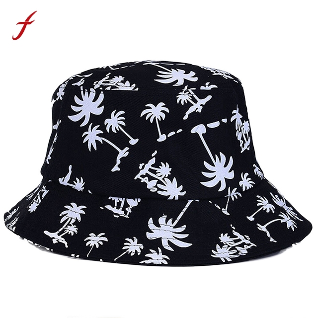 Women Graffiti Flat Bucket Hat with Coconut Tree Pattern Outdoor Hat  elegant chic design great texture Black Blue Red White 3314fbb6779