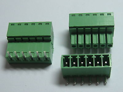 12 pcs Screw Terminal Block Connector 3.81mm Angle 6 pin Green Pluggable Type
