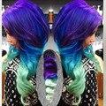 3 tom de cor Roxo para o Azul para verde Clipe no cabelo humano extensões 7 pcs 120g cabeça Cheia clipe ins extensões de cabelo remy cabelo Humano