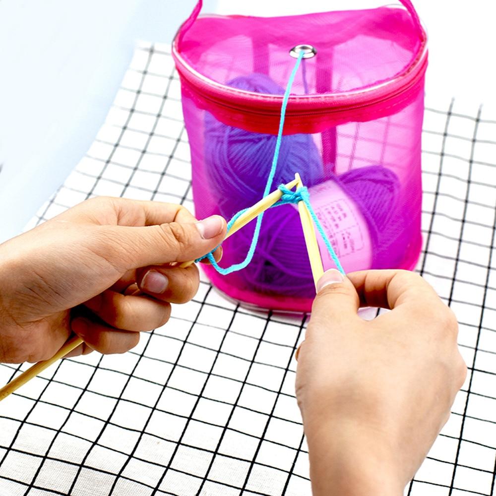 Mesh Sewing Kit Bag DIY Hand Weaving Tools Organizer Hollow DIY Hand Weaving Yarn Bag Crochet Thread Storage Mesh Holder