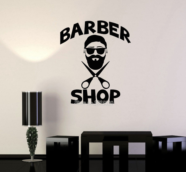 Vinyl Removable Decals Mens Hairdresser Hair Salon Barbershop Art