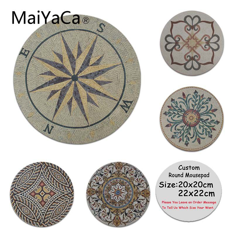 MaiYaCa Tile Stone Patterns Medallion Floral Silicone Pad to Mouse Game Anti-Slip Laptop PC Round Mice Pad Mat Mousepad