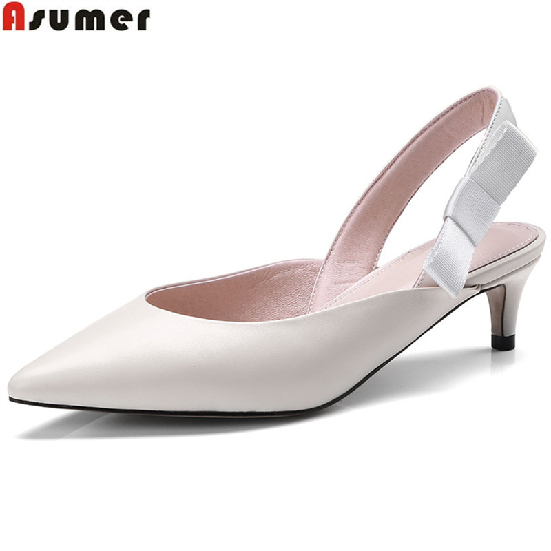 ASUMER blue black pointed toe shallow casual spring autumn shoes woman elegnat women genuine leather med heels shoes asumer white spring autumn women shoes round toe ladies genuine leather flats shoes casual sneakers single shoes