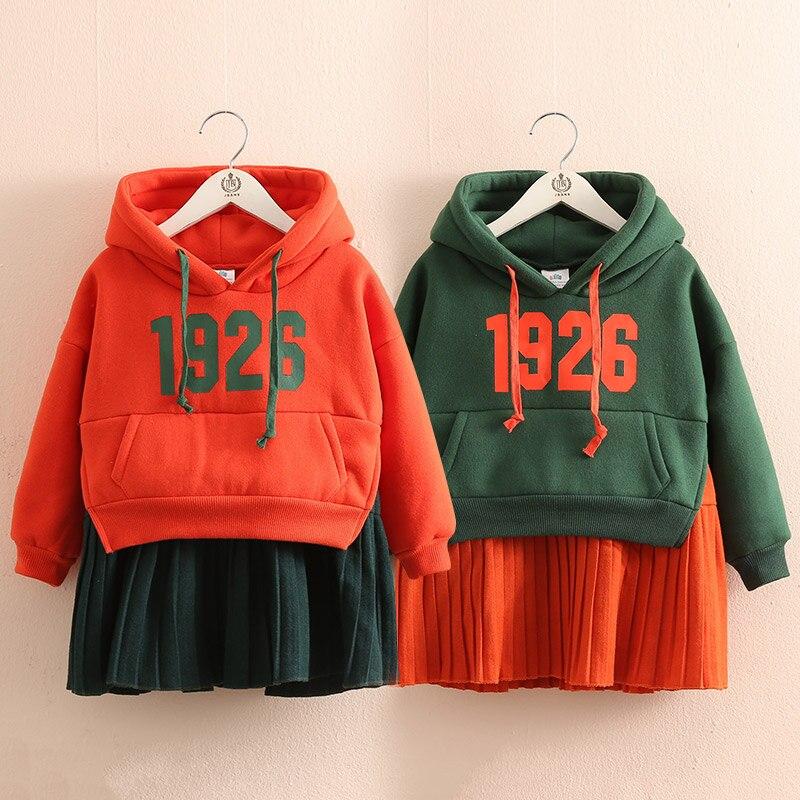 New 2019 Autumn Winter Jackets Dress for Girls Children Plush Thickened Dresses Children's Clothing Thicken Winter Warm Dresses