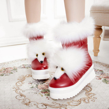 Women real genuine leather Mid Calf boots high heel snow boots Fox fur fashion boots shoes