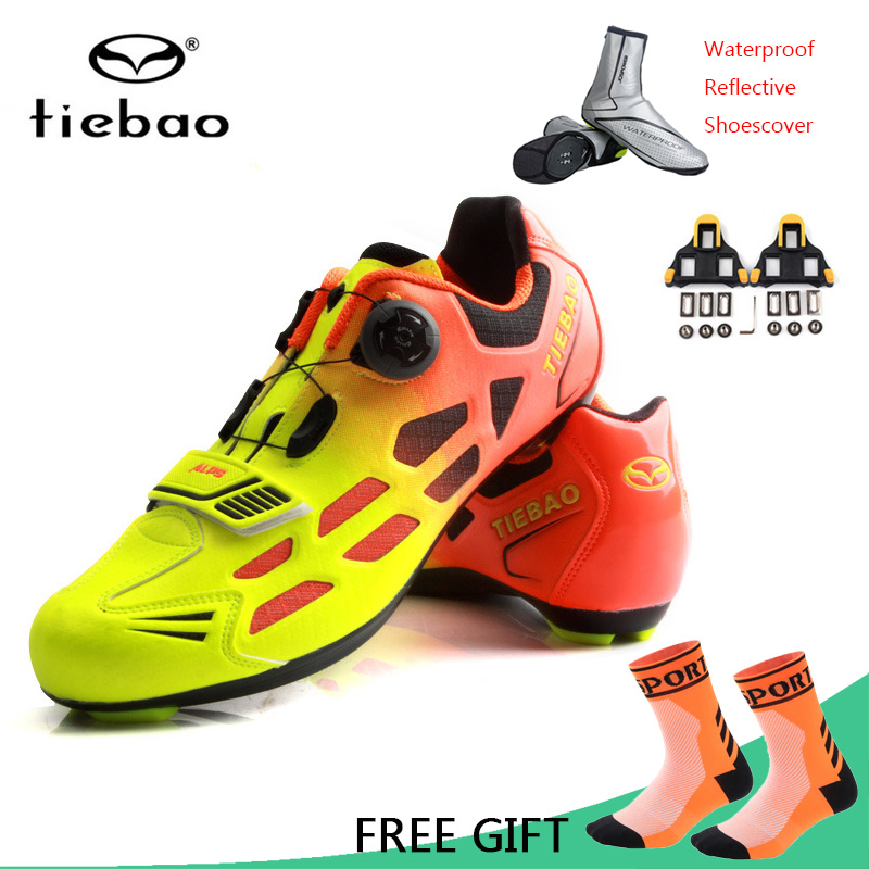 Tiebao Road Cycling Shoes Men Women Racing Bike Shoes Self Locking MTB Sneakers Breathable Professional Bicycle