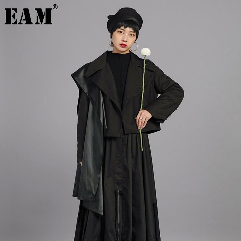 [EAM] 2019 New Spring Winter Lapel Long Sleeve Black Cloak Split Joint Short Cotton-padded Coat Women   Parkas   Fashion Tide JL738