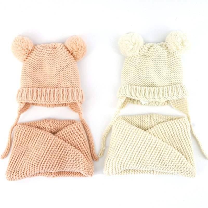 Nuevo tejido con el oído cadena bebé gorros bufanda conjuntos niños ...