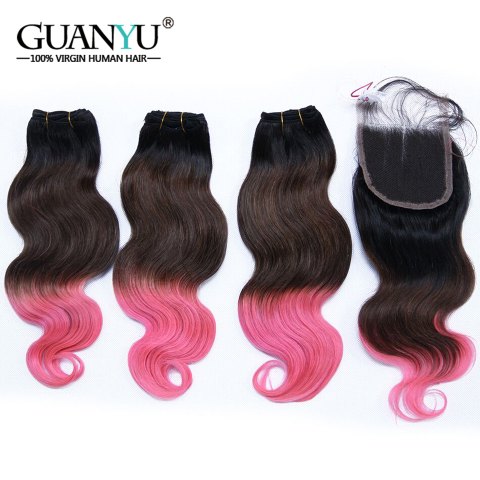 Guanyuhair 1B/4/Pink Three Tone Ombre Hair Weave 3 Bundles With Closure 4*4 Peruvian Remy Human Hair Body Wave