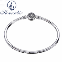 Slovecabin Romantic 925 Sterling Silver Heart Of Winter Snowflake Clasp Bangle Bracelet Female For Women Sterling