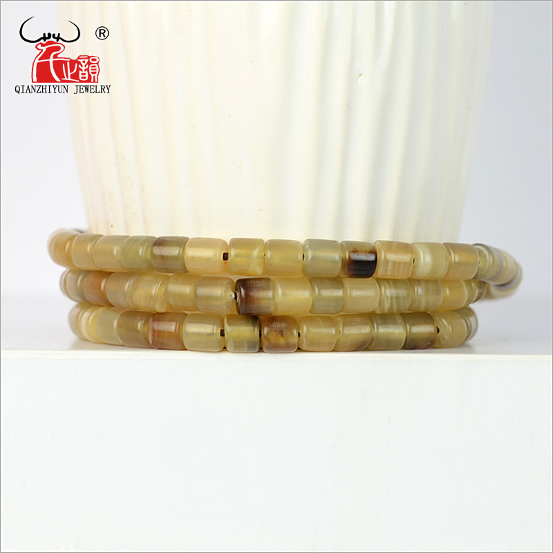 Hand-Jewelry Yak-Horn Square Handcrafted Wholesale Beads Making-Hole for 20PCS DIY White