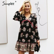 Simplee Floral print autumn chiffon dress women V neck long sleeve winter dress Lace hollow out robe dress female vestidos 2018(China)