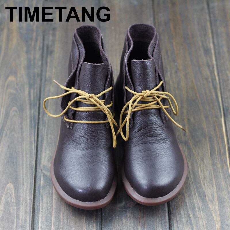 TIMETANG Women Boots Genuine Leather Woman Ankle Boots Flat Round toe Lace up Ladies Shoes Female Sping/Autumn Footwear C241 front lace up casual ankle boots autumn vintage brown new booties flat genuine leather suede shoes round toe fall female fashion