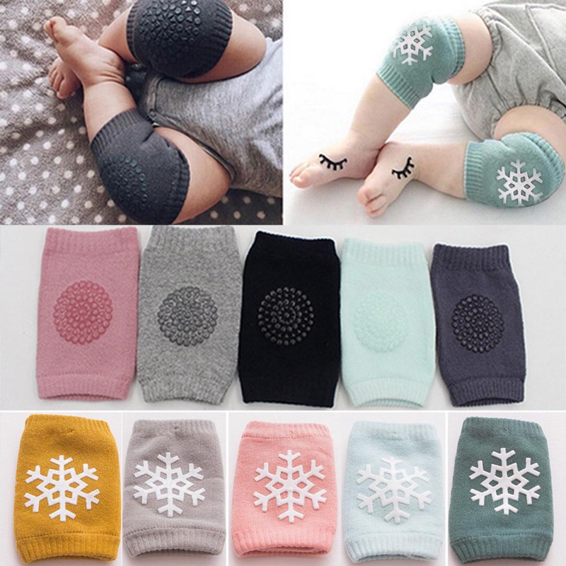 Baby Knee Pads 3 Pairs with Anti-slip Foot Socks 3 Pairs Unisex Soft Cotton Breathable Crawling Safety Protector for 0-24 Months