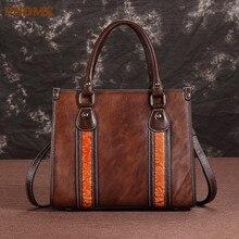 PNDME luxury vintage fashion embossed genuine leather ladies handbag designer handmade flower womens shoulder crossbody bags