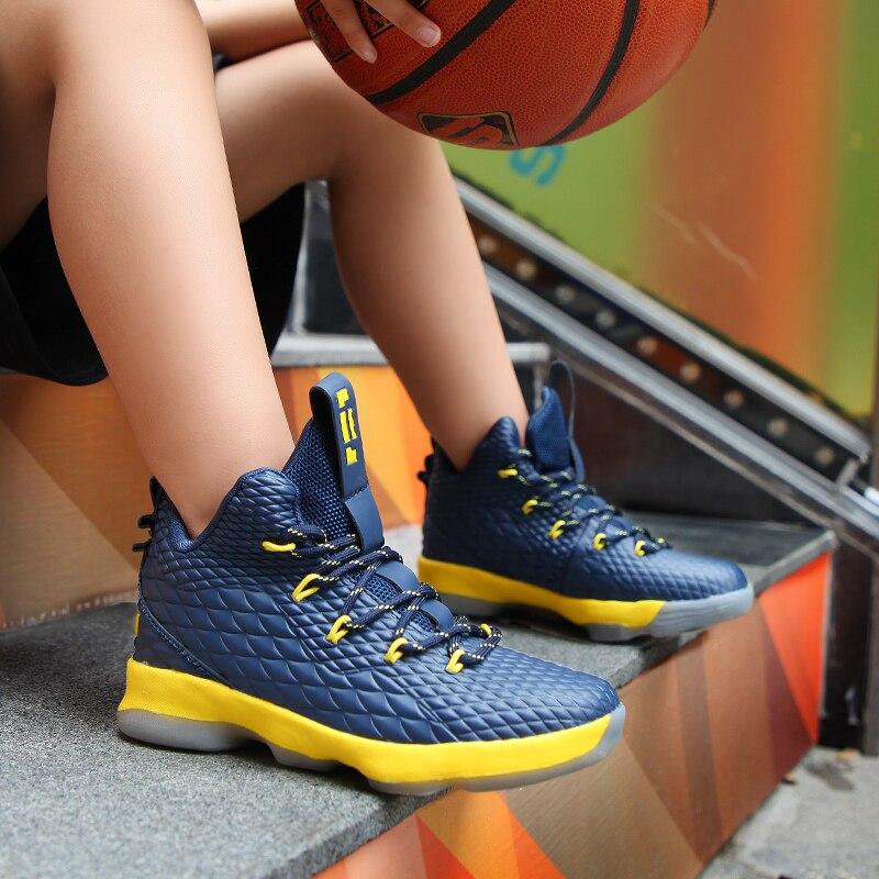 4605a4860943c 2018 semelle épaisse antidérapant résistant à l usure enfants baskets  garçons chaussures de Basket noir enfants chaussures de sport étudiants  formateurs ...
