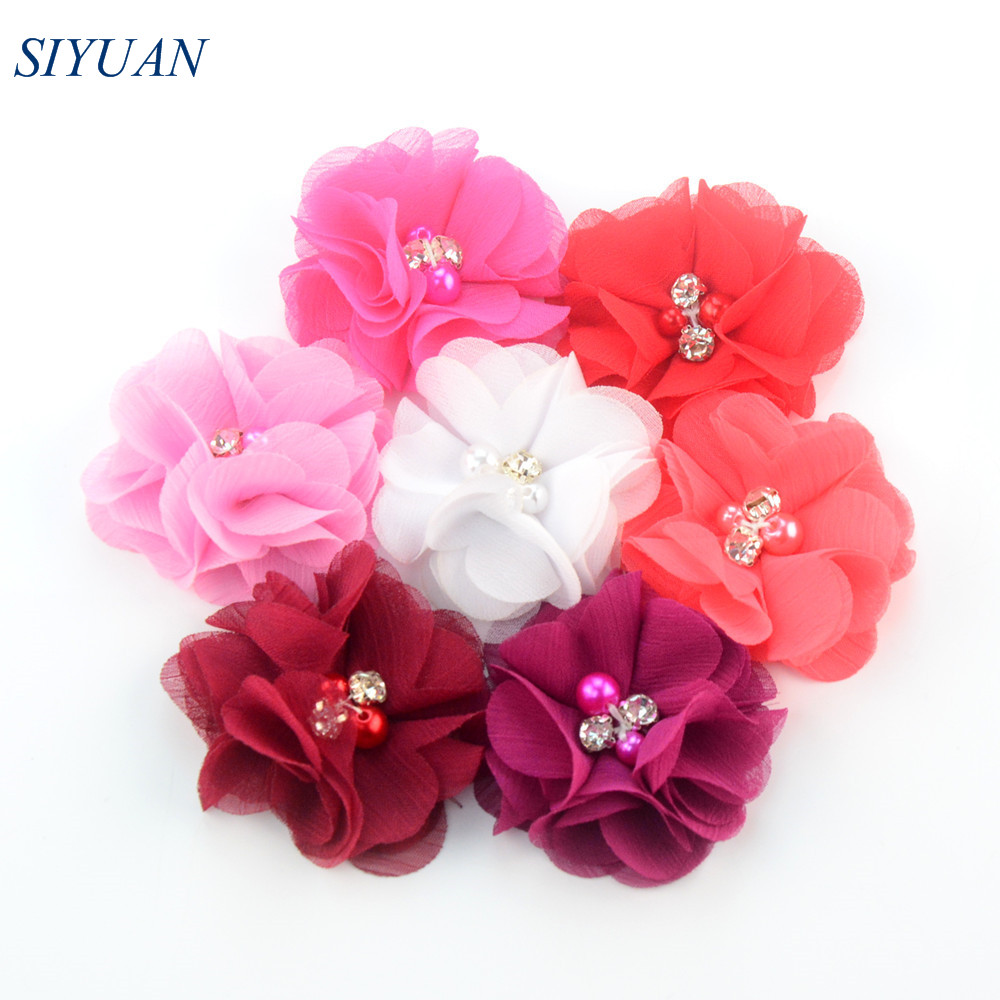 """120pcs 2/"""" Hair Accessories Fabric Chiffon Flower With Pearls For Headbands"""