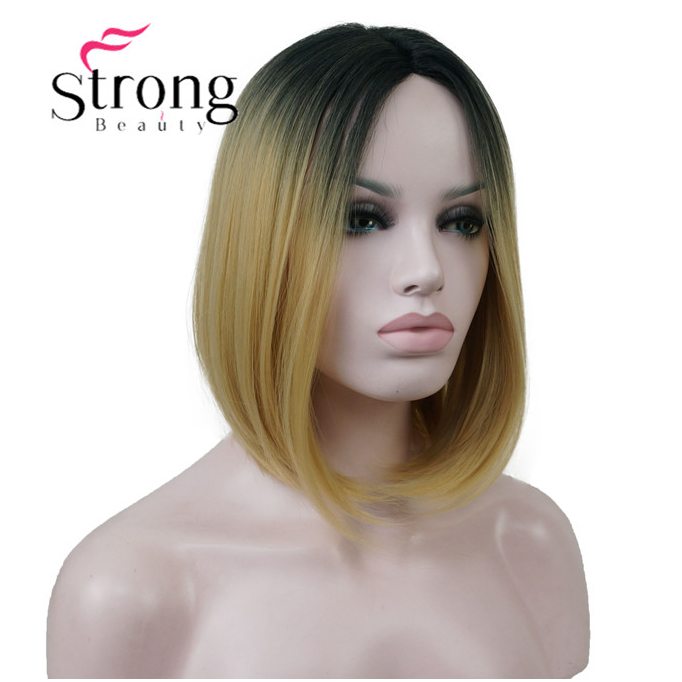 StrongBeauty Ombre Gold 2 Tones Bob Part Lace Front Wig Hand tied Invisible Synthetic Straight Wigs