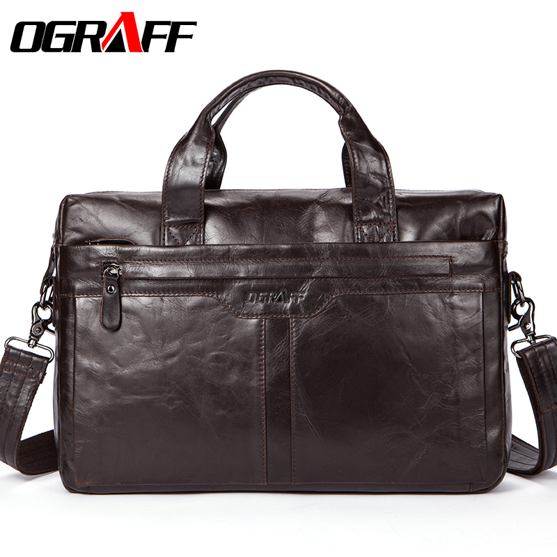 OGRAFF Genuine leather Men Bag Handbags Briefcases Shoulder Bags Laptop Tote bag men Crossbody Messenger Bags Handbags designer genuine leather bag men messenger bags casual multifunction shoulder bags travel handbags men tote laptop briefcases men bag