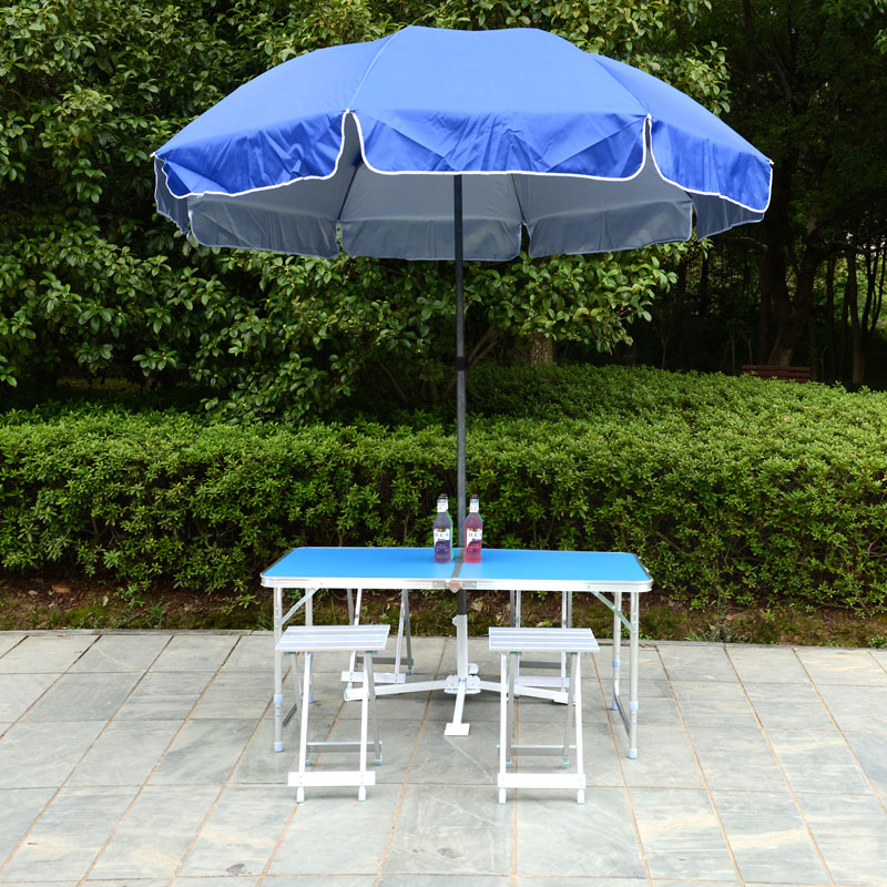 Height Adjustable Outdoor Furniture Sets 1 Table 4 Chairs Folding Desk Portable Camping Picnic Foldable AL Ultralight Tables