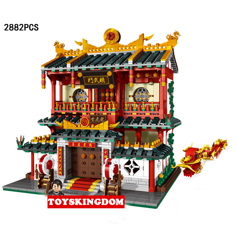 City Street View Chinatown Chinese Kung Fu Wushu Hall Moc Building Block Model Mini Dragon Dance Figures Bricks Collection Toys