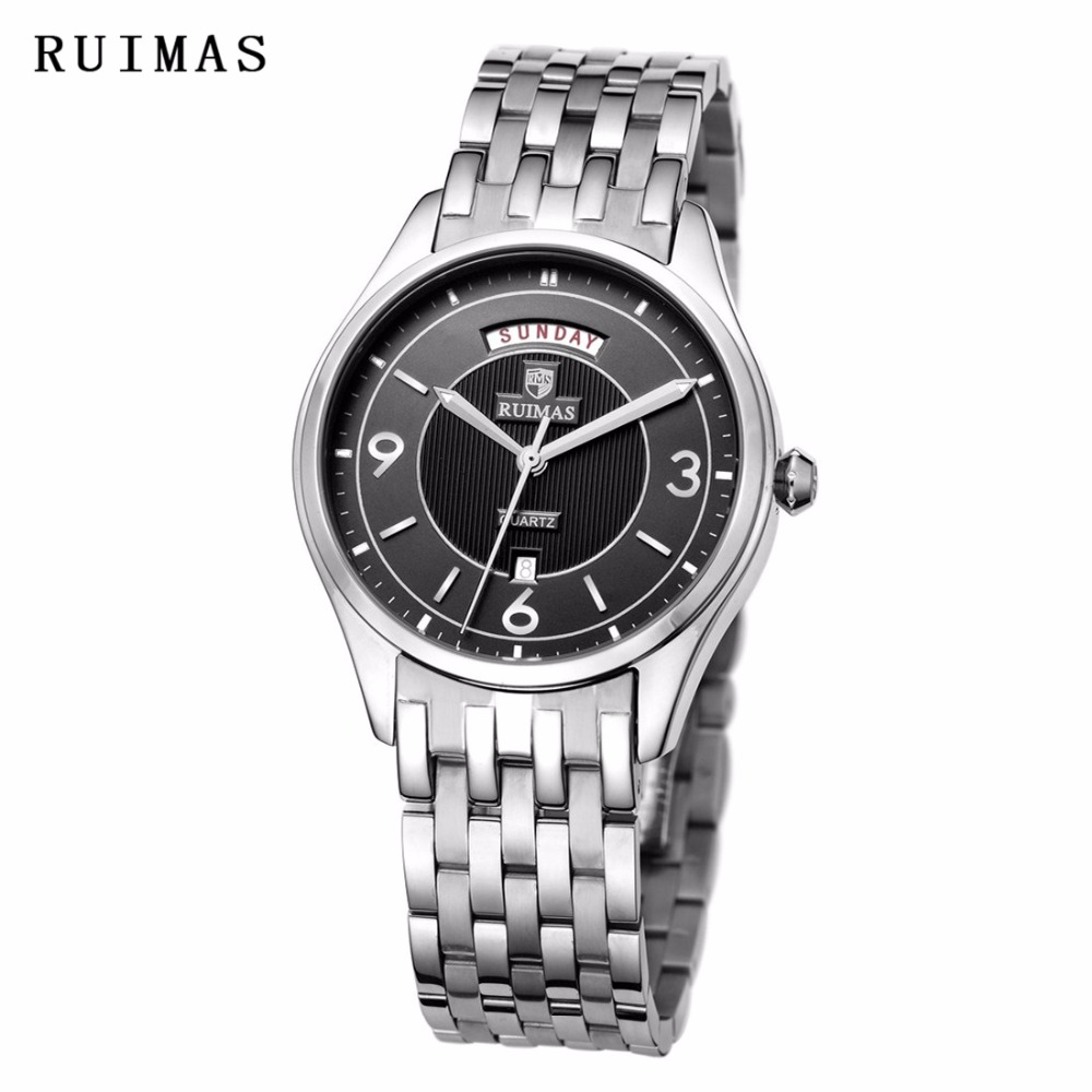 RUIMAS Top Brand Men Wrist Watch Quartz Watch Unique Wristwatches Dress Business Mens Golden Watches Erkek Kol Saati apr1306 yazole new mens watches gold skeleton men quartz watch luminous wristwatches male clock wrist watch quartz watch erkek kol saati