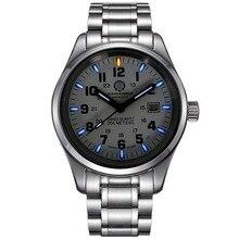 Carnival mens fashion trítio luminosa à prova d' água pulseira de aço quartz watch wristewatch-caso de prata azul luminosa