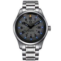 Carnival Mens Fashion Tritium Luminous Waterproof Steel Watchband Quartz Watch Wristewatch silver case blue luminous