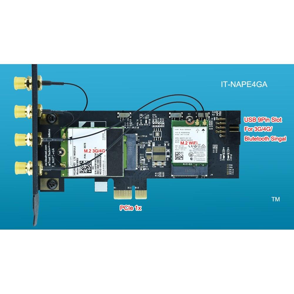 IdeaTrust IT-NAPE4GA NGFF M.2 M2 B y la clave A PCIe 1x X1 adaptador de 3G/4G y WiFi tarjeta de adaptador PCI-E para escritorio