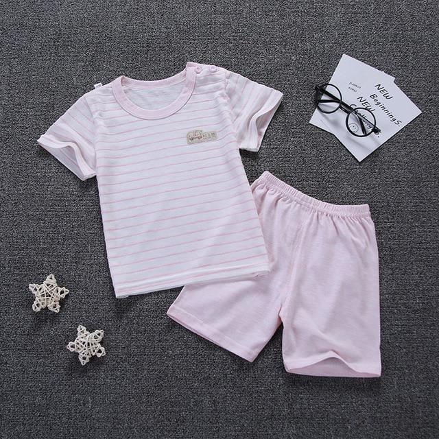 Girls Summer Pajamas Set 2019 Kids Cotton Sleepwear Baby Boys Short Sleeve Pyjamas Cartoon Kids Clothes Set Pyjama Enfant