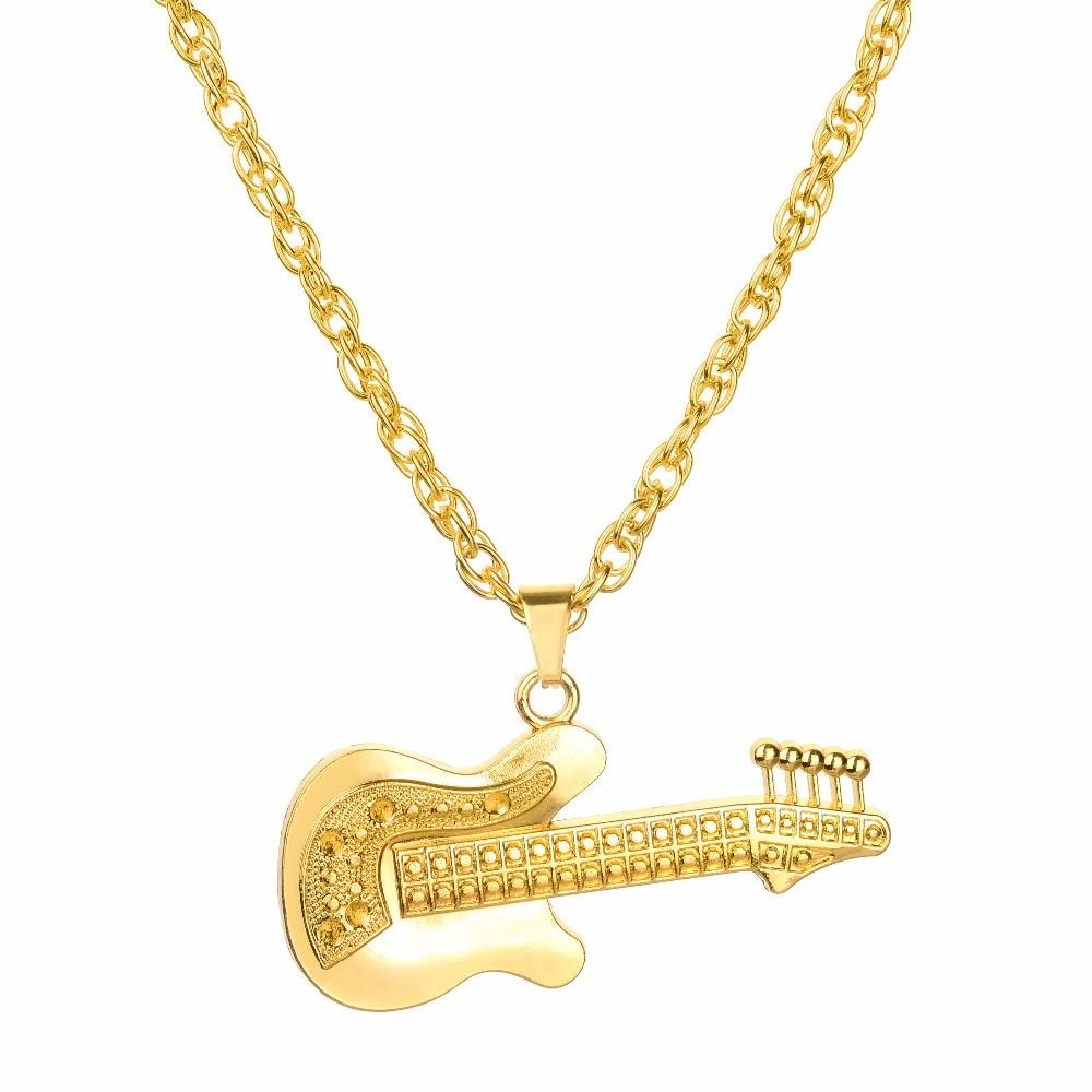 Golden Alloy Full Rhinestones Guitar Necklaces 1