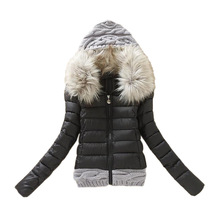 Women Winter Coat Cotton Padded Jacket Short Knitted Hood Fur Collar Womens Winter Jackets and Coats