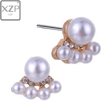 XZP Jewelry New Cute Brand Design Gold Color Rhinestones Imitation Pearl Stud Earrings For Women Accessories Wholesale