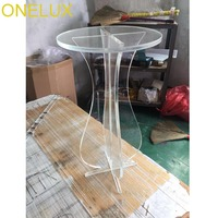 Clear Round Acrylic Carved Coffee Tea Table, Lucite Accent Pedestal Tables Crossed Legs 2 size options