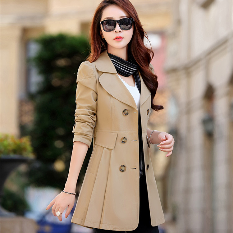 2019 Autumn New Double Breasted   Trench   Coat Female High Quality Business Outerwear Woman Classic Buttons Long   Trench   Coat