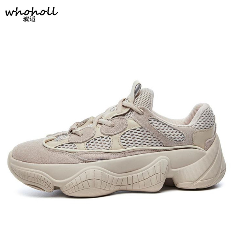WHOHOLL 2018 Spring Winter Women Casual Shoes Suede Leather Platform Sneakers Ladies White Trainers Chaussure Femme