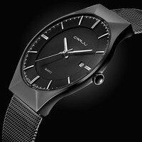 Mode Simple Élégant De Luxe marque CRRJU Montres Hommes Acier Inoxydable Maille Sangle Mince Cadran Horloge Homme Casual Quartz-montre noir