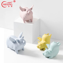 Collectible Ceramic Pig Figurines Nordic Home Decoration Accessories Table Vanity Ornaments Porcelain Animal Statues Handmade nordic macaron color french bulldog ceramic figurines collectibles for home decor weddings centerpieces porcelain animal statues