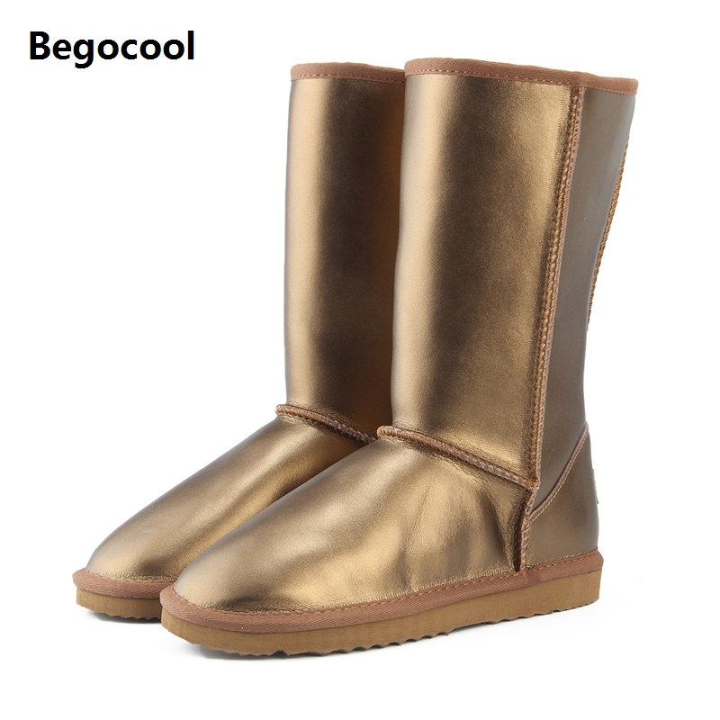 Begocool 2017 Women Shoes Winter Boots Genuine Cowhide Leather waterproof 6 color fashion casual woman UG snow boots US 3.5-13 rubber cement euro winter shoes woman sleeve side zip chains riding genuine leather boots women solid color cowhide flat with