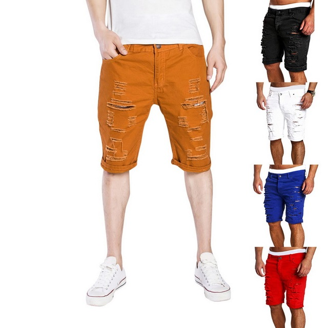 MJARTORIA 2019 New Men's Regular- Denim Short Jean Pants Summer Casual Hole Zipper  Mid Waist Shorts Men's Solid Jean Shorts 10