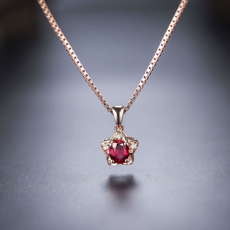 Ruby rose gold necklace
