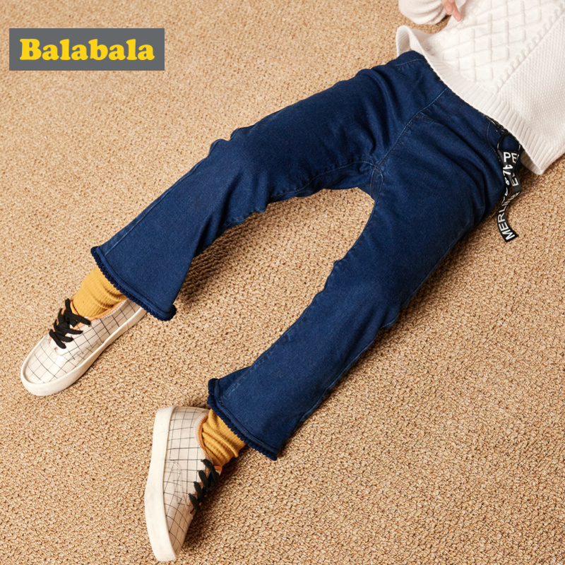 Balabala Todder Girl Fleece-Lined High Flare Jeans with Tab Kids Pull-on Jeans in Washed Denim with Pocket Ribbing at WaistBalabala Todder Girl Fleece-Lined High Flare Jeans with Tab Kids Pull-on Jeans in Washed Denim with Pocket Ribbing at Waist