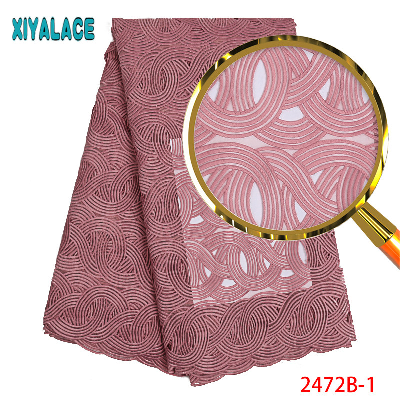 African Lace Fabric 2019 High Quality Lace Polyester Embroidery Lace Trim African Cord Lace Fabric For