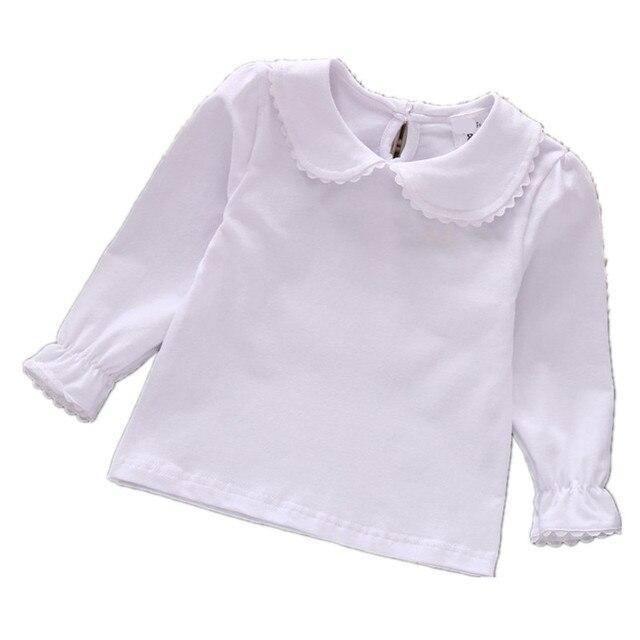 039f96bbd 2018 Autumn girls baby clothing peter pan collar shirt kids long sleeve t- shirts baby T-shirt Lapel tops 0-6 year Girls Clothes