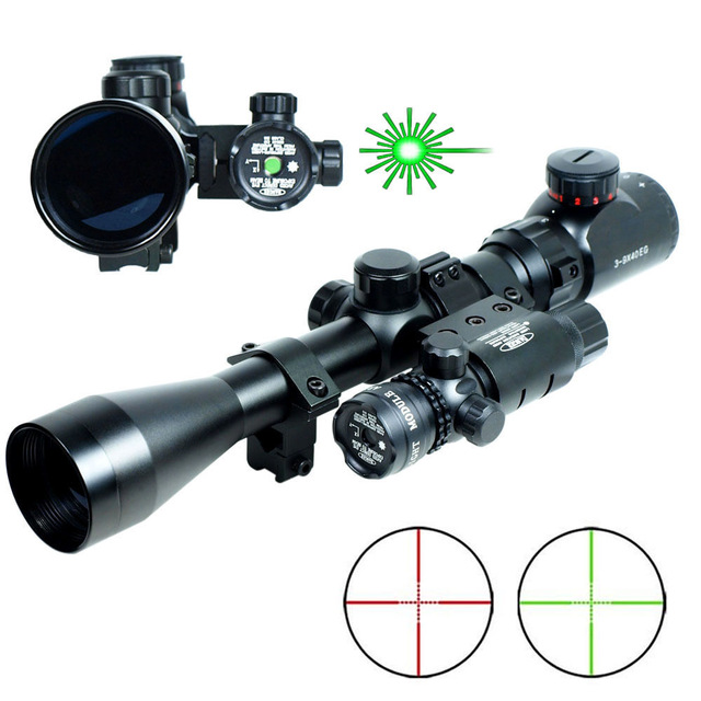 3-9x40 Long Range Shooting Airsoft  Hunting Riflescope Mil-Dot Illuminated Snipe Gun Rifle Scope & Detachable Green Laser Sight