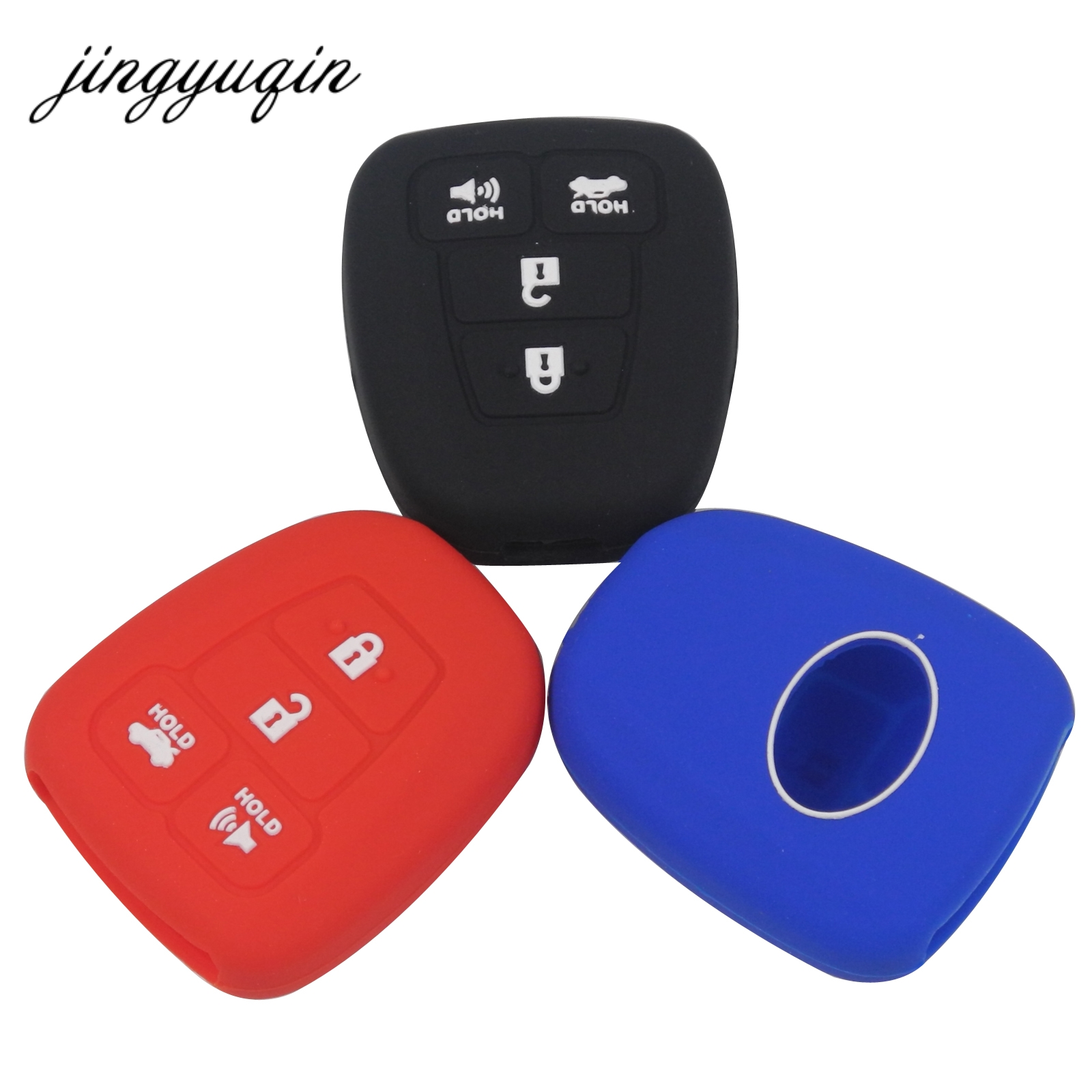 Jingyuqin Silicone Car Key Case Protector Holder For 2015 Toyota Camry Rav4 COROLLA 4 Button Remote Car Key Cover Fob