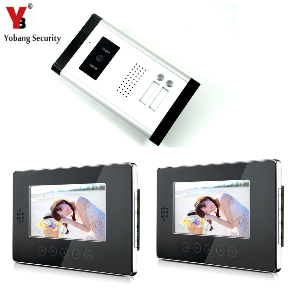 YobangSecurity 7 LCD Wired Video Door Phone Doorbell Intercom Monitor Visual Security Camera Bell System For Multi Apartment yobangsecurity villa apartment eye door bell 7tft lcd color video door phone doorbell intercom system 1 camera 2 monitor
