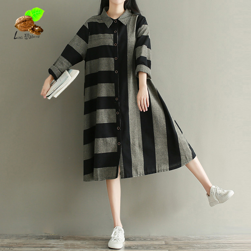 Art patchwork striped cotton & linen t-shirtwomen 2018 new autumn loose vinage long slee ...